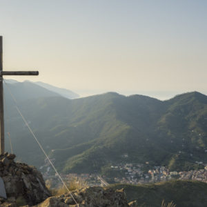 Blick vom Monte Rossola auf Levanto