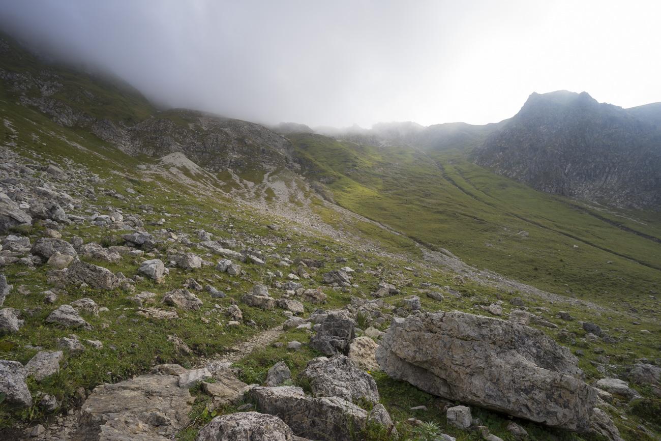 Der obere Teil des Aufstiegs von der Willersalpe zur Vorderen Schafwanne (2060 m)