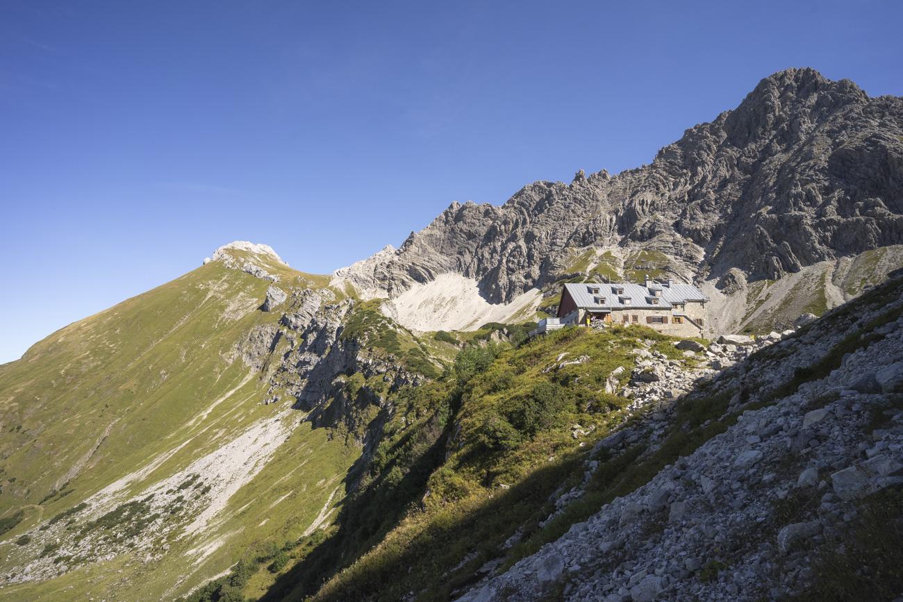Blick zurück auf Glasfelderkopf, Bockkarscharte und die Fuchskarspitzen (2252 m und 2314 m)