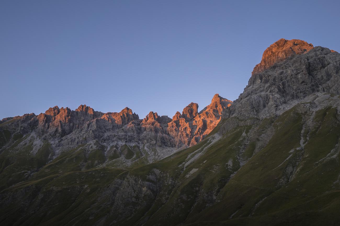 Blick zurück zum Muttlerkopf kurz vor Sonnenuntergang
